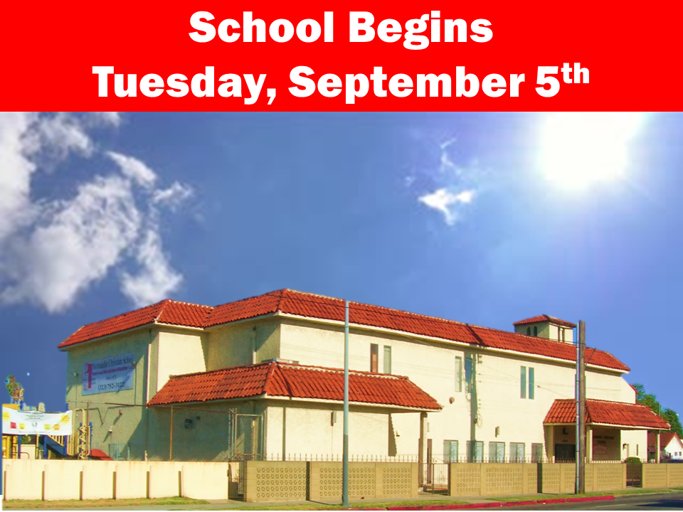 School Begins Tuesday, September 5th