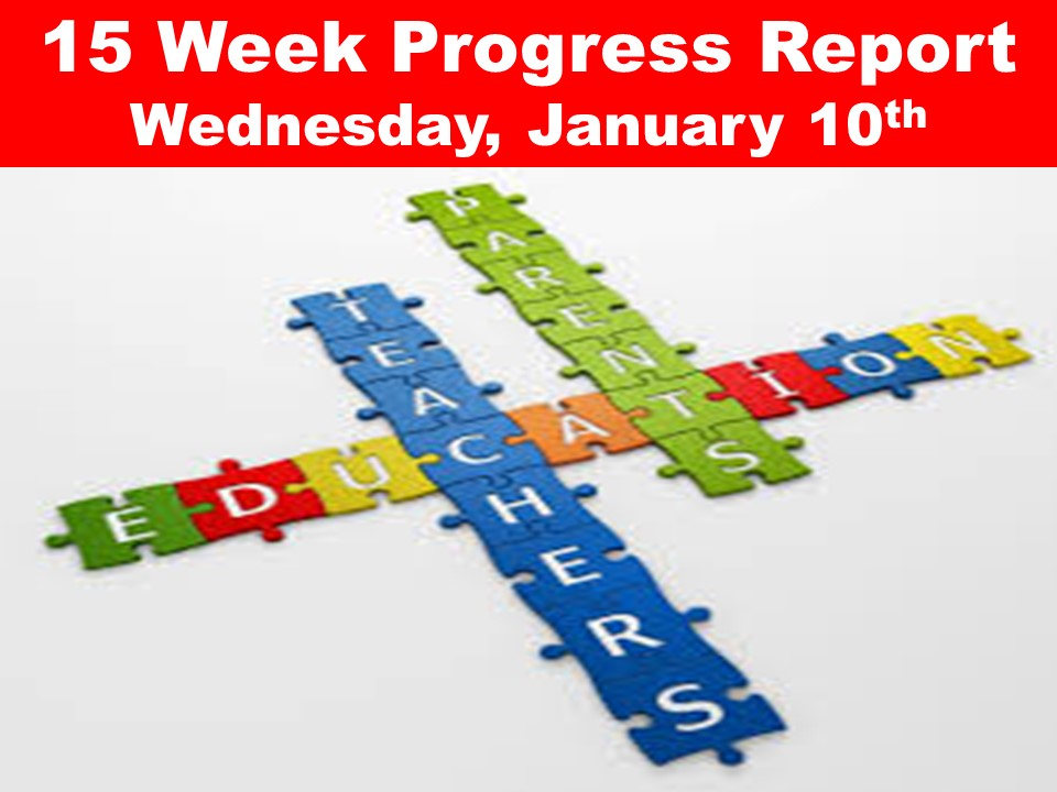15 Week Progress Report Wednesday, January 10th