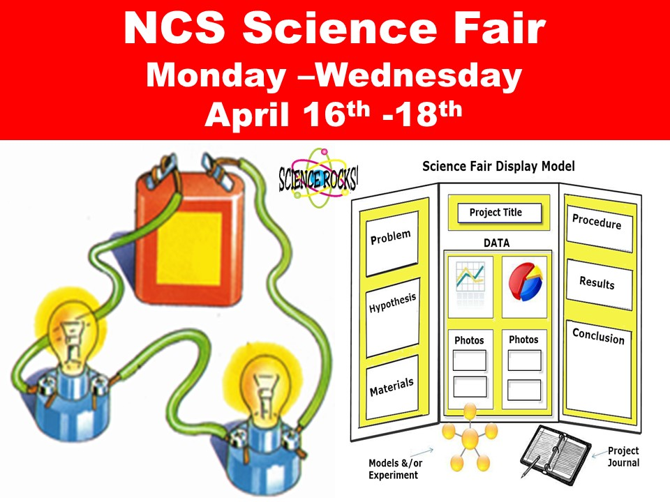 NCS Science Fair  Monday –Wednesday  April 16th -18th