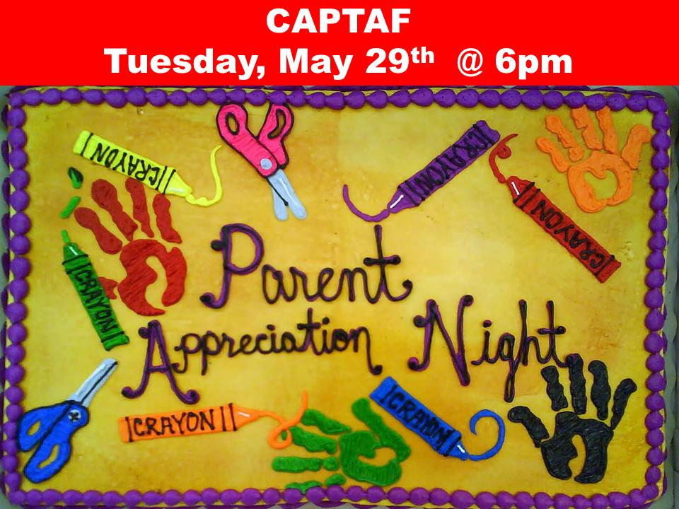 CAPTAF  Tuesday, May 29th  @ 6pm