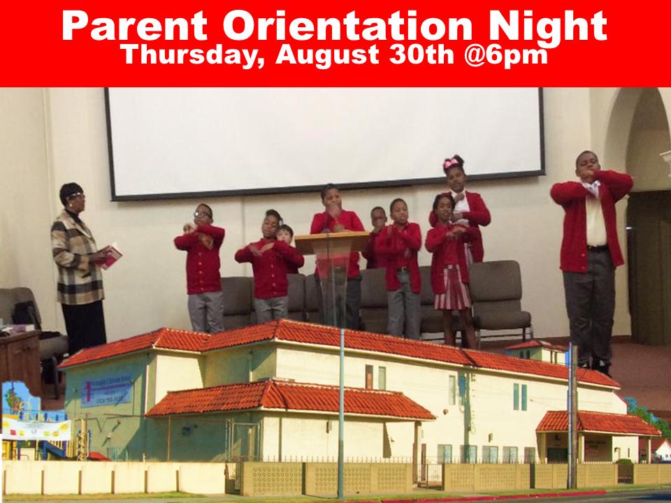 Parent Orientation Night Thursday, August 30th @6pm