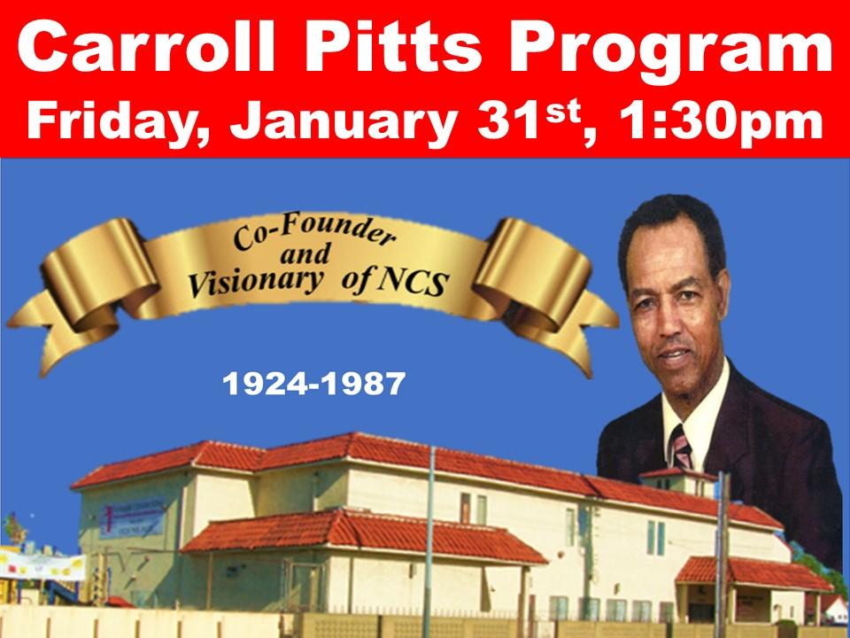 Carroll Pitts Program Friday, January 31st, 1:30pm