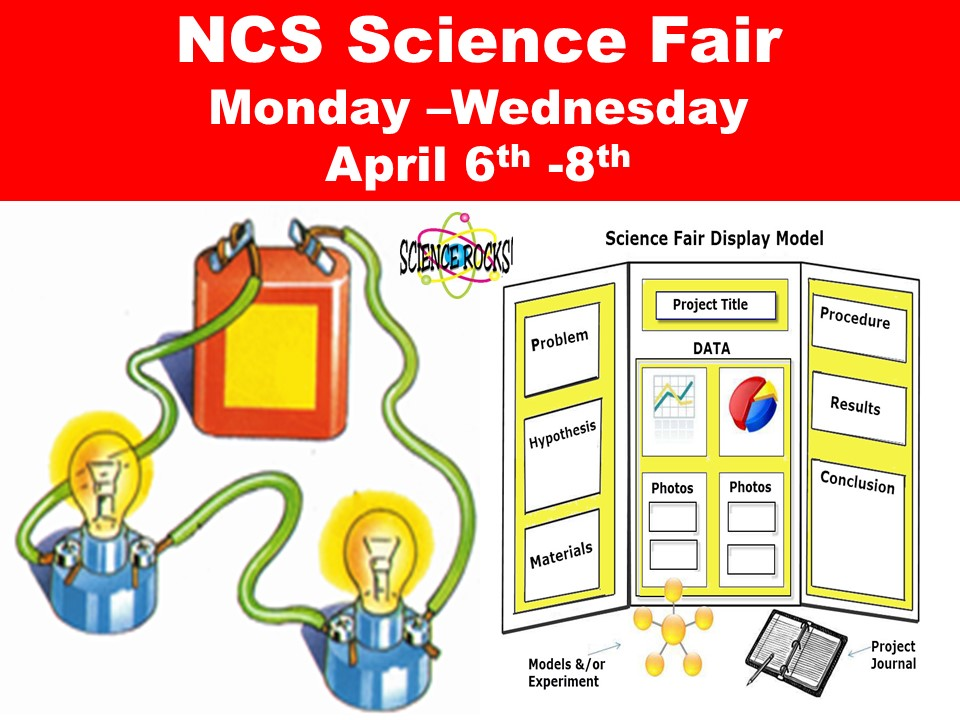 NCS Science Fair  Monday –Wednesday  April 6th -8th